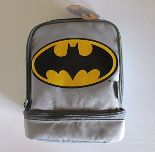Thermos Dual Compartment Lunch Kit. (Batman Grey/Yellow) (Batman Lunch Box With Thermos)