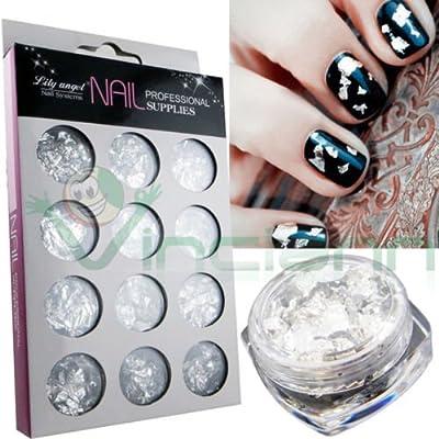 Juego 12 piezas Hoja Plata Hojas aluminio decoración uñas Manicura Nail Art