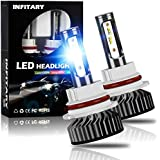 INFITARY 9004/HB1 LED Headlight Bulbs Conversion Kit All-in-One 8000LM 6500K ZES High Low Hi/Lo Beam Super Bright Cool White Fog Light Plug Play Car Replacement LED Auto Headlamp 3Yrs Warranty
