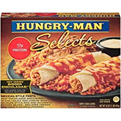 Easily create an authentic meal with Hungry-Man Mexican Style Fiesta. It includes beef enchiladas smothered in chili sauce and cheese with rice and refried beans. This frozen dinner contains over 1 lb of food and also has cocada a coconut-fla...