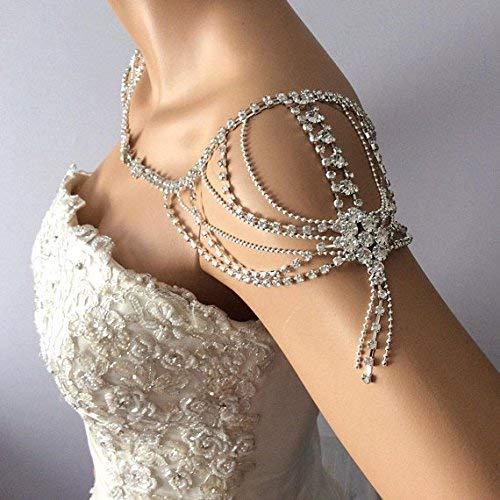 Amazon Com Shoulder Necklace Crystal Bridal Rhinestone Necklace