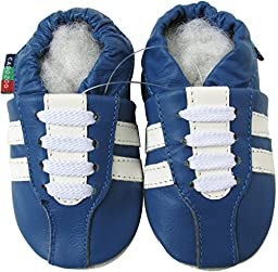 Carozoo Unisex Baby Soft Sole Leather Shoes Sneaker Blue S 2-3y