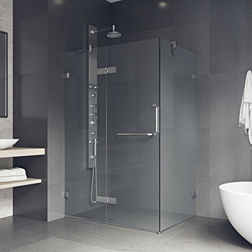 VIGO 32 x 48 Inch Frameless Rectangular Hinged-Pivot Shower Door Enclosure with Tempered Glass, Magnetic Waterproof Seal Strip and 304 Stainless Steel Hardware - Chrome Finish