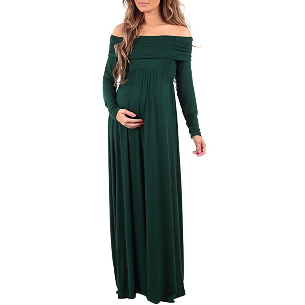 EFINNY Maternity Wrap Dress for Women Elegant Photography Pregnant Dress Off Shoulder Maxi Trailing Long Dress for Photo Shoot Wedding Evening Party Gown