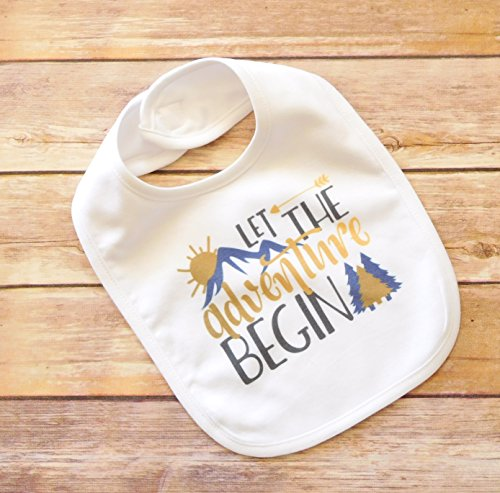 Baby Bib - Let the Adventure Begin - Colorado Moutains by Sticks, Hooks, and Yarn