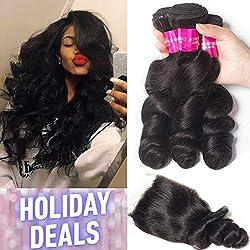 Tinashe 8a Brazilian Hair Loose Wave 3 Bundles with Closure 100 Human Hair Bundles and Closure Unprocessed Virgin Hair Natural Color(18 20 22+16 Free Part)
