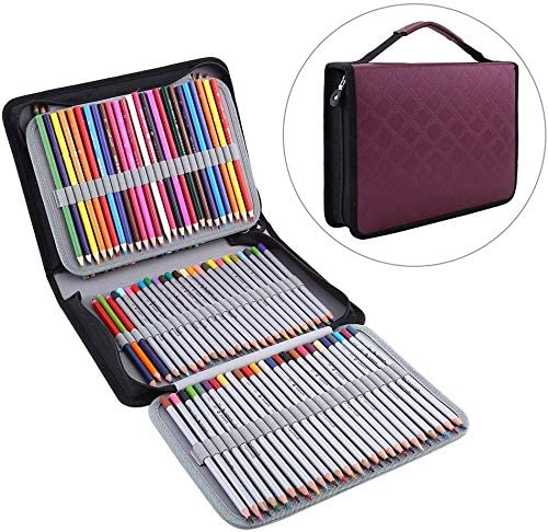 Yosoo 150 Slots PU Leather Fabric Pencil Case Large Capacity Zippered Pen Bag Pouch with Handle Strap Multi-Layer Art Pencils Storage Organizer Stationary Case, Purplish Red