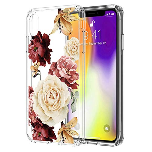 iPhone XS Max Case, LEEGU Scratch Resistant Floral Printed Clear Design Hard Plastic and TPU Gel Bumper Protective Cover Slim Case for Apple iPhone XS Max - Colorful Flower