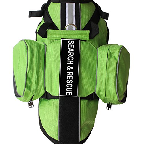 (haoyueer Latest Search & Rescue Service Dogs Backpack Harness Vest Removable Saddle Bags with Label Patches(Green,L))