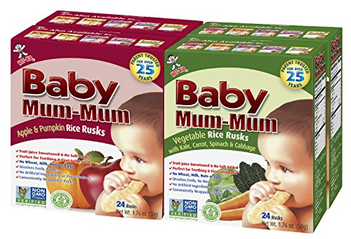 Hot-Kid Baby Mum-Mum Rice Rusks, 2 Flavor Variety Pack, 24 Pieces (Pack of 4) 2 Each: Apple & Pumpkin, Vegetable Gluten Free, Allergen Free, Non-GMO, Rice Teether Cookie