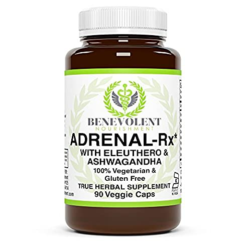 Adrenal-Rx The Ultimate Adrenal Support Supplement with Eleuthero & Ashwagandha Boost Body's Natural Resistance to Physical & Mental Stress 100% Vegetarian Gluten Free 90 Veggie - Adrenal Boost