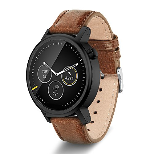 Moto 360 2nd Gen Band, Benuo [Vintage Series] Premium Genuine Leather Strap, Classy Replacement Band with Metal Buckle Clasp, Quick Release Pin Smart Watch Strap for Moto 360 2 (42mm, Brown)