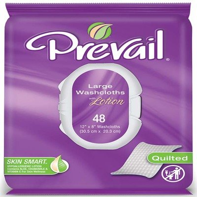 Prevail Premium Cotton Washcloth (8x12) 6 Tubs of 96 wipes in Case by First Quality 79268