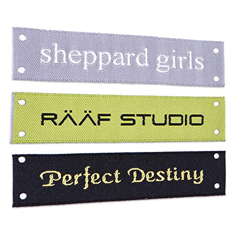 - Wunderlabel Personalized Custom Customized Text Sew On Woven Damask Label Four Corner Holes Clothing Tags Ribbons Sewing Handmade Fashion Garment Arts Craft, 50 Labels
