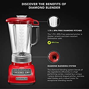KitchenAid 5KSB1585DER 615 – Watt 5 Speed Diamond Blender 1.7 Litre – Empire Red
