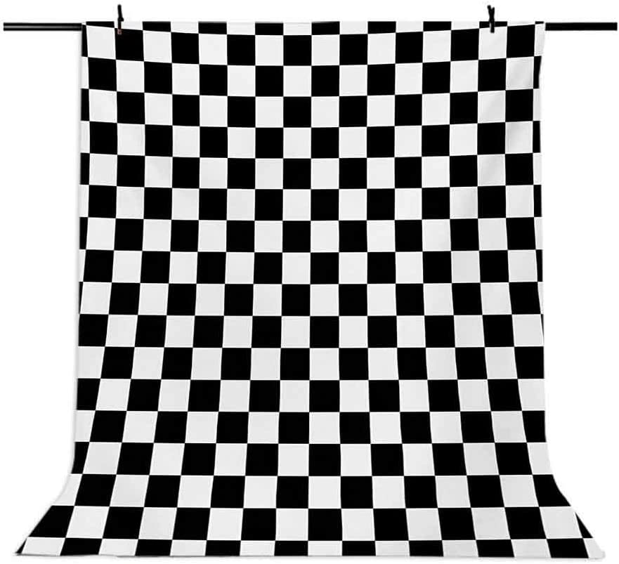 Geometric Grid Style Monochrome Squares in Traditional Game Board Design Background for Baby Birthday Party Wedding Vinyl Studio Props Photography Checkers Game 6.5x10 FT Photography Backdrop
