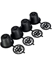 Funnytoday365 4X Refillable Reusable Coffee Capsules Pods For Nespresso Machines Spoon