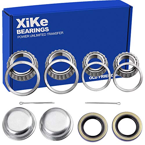(XiKe 2 Set Fits for 1-3/8'' to 1-1/16'' Axles Trailer Wheel Hub Bearings Kit, L68149/L68111 and L44649/L44610, 171255TB Seal OD 1.719'', Dust Cover and Cotter Pin, Rotary Quiet High Speed and Durable.)