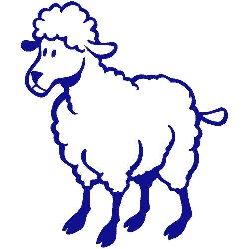 (Set of 3 - Lamb Decal Sticker Color: Blue- Peel and Stick Vinyl)