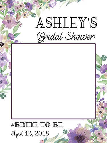 Custom Floral Bridal Shower Photo Booth Frame - Sizes 36x24, 48x36; Personalized Bridal Shower Decorations, Wedding photo booth prop, Bride to be, Miss to Mrs. Handmade Party Supply Photo Booth (Cheap Decorations Online)