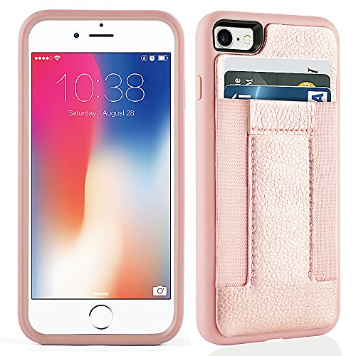 iPhone 8 Case, iPhone 7 Case,iPhone 7/8 Wallet Case with Credit Card Slots& ID Card-Durable Slim Shockproof Cover for iPhone 7/8-Rosegold