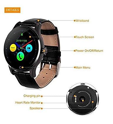 k88h correa de piel reloj inteligente con bluetooth y monitor de frecuencia cardíaca reloj de pulsera para IOS y Android: Amazon.es: Electrónica