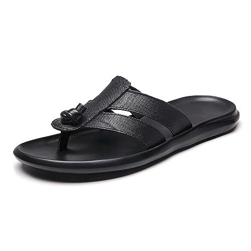 5e4cab3cd2a Homme Tong Chaussure de Plage Piscine Sport Aquatique au Loisir Pantoufle à  Pied Nus de Cuir