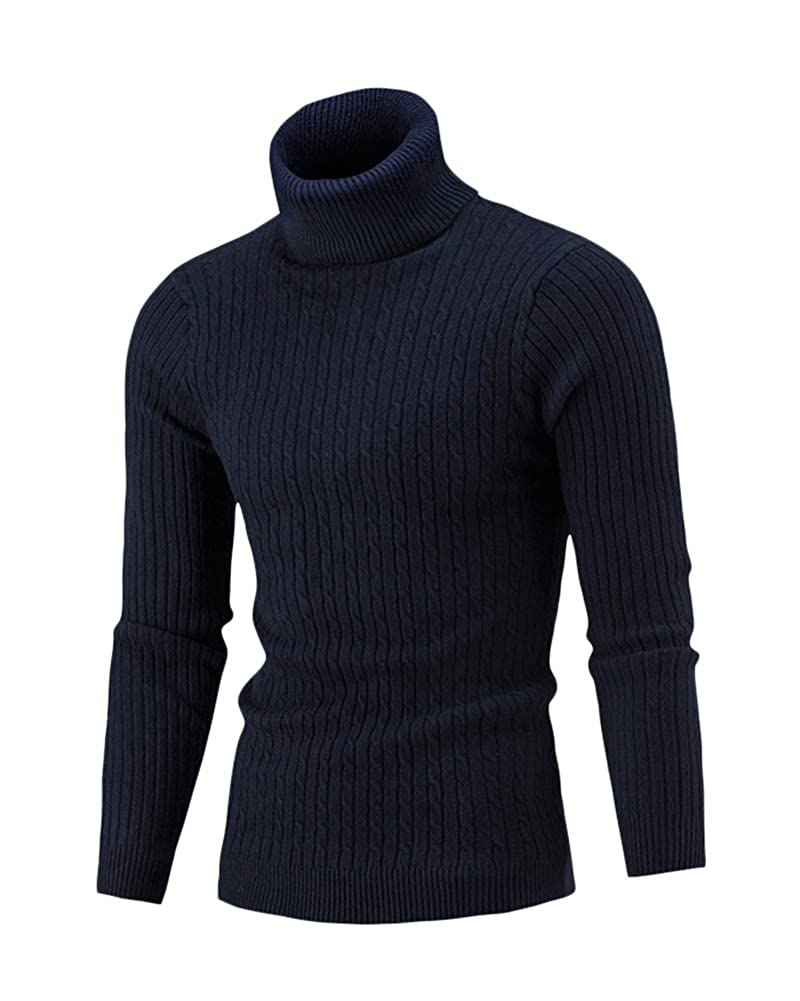 Shaoyao Mens Turtle Neck Jumpers Roll Neck Sweater Knitted Pullover