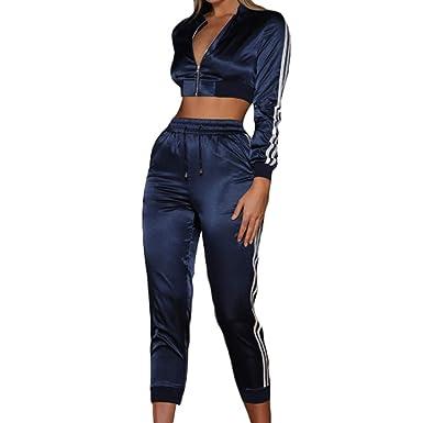 Chaquetas Sección Corta Mujer Sexy Pantalones Cortos Cintura Alta Blusa Cremallera Manga Larga Cuello Redondo Pantalones Cintura Elástica Sportwear 2 ...