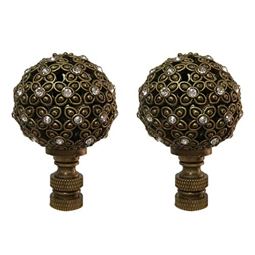 Royal Designs F-5074AB-2 Floral Motif Sphere with Crystal Accents Lamp Finial, Antique Brass, Set of 2