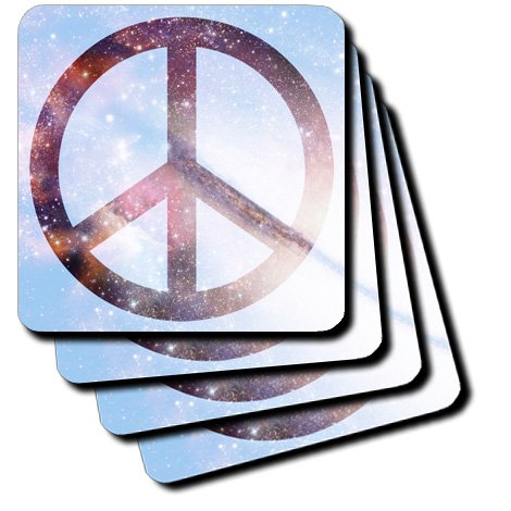 cst_40217_2 Patricia Sanders Creations - Stars Blue Sky Universe Peace Sign- Inspirational Art - Coasters - set of 8 Coasters - Soft