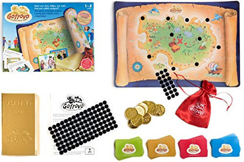 Gotrovo Treasure Hunt Game Indoor Outdoor DIY Educational Activity for Kids Learn through Fun - 100 Clue Cards, Treasure Map, Treasure Bar, Gold Coins and Loot (Diy Disney Family Costumes)