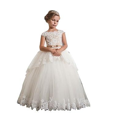 5eb349a2c EllieHouse Communion Dress Lace Flower Girl Dress For Wedding F11 Ivory  Size 14: Amazon.co.uk: Clothing