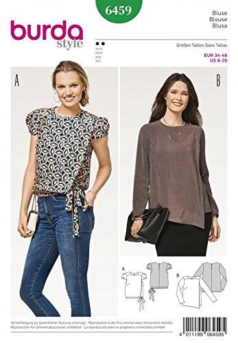 Burda Ladies Sewing Pattern 6459 Mock Wrap Blouse Tops