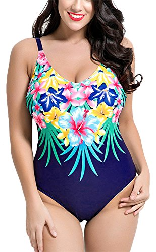 2aa16c71edf46 Smibra Womens Plus Size Push Up Monokini Low Cut Floral Halter One Piece  Bikini 2017