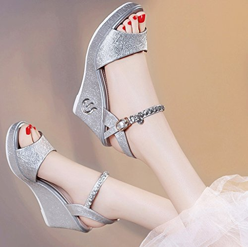 Spring and Summer Elegant High-Heeled Shoes Waterproof Wedge Sandals Fashion Shoes (Color : Silver, Size : 37)