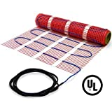 25 sqft, 120V Heattech Electric Radiant Floor Heat Mat for Underfloor Tile Heating with Adhesive Backing, Sticky Mesh