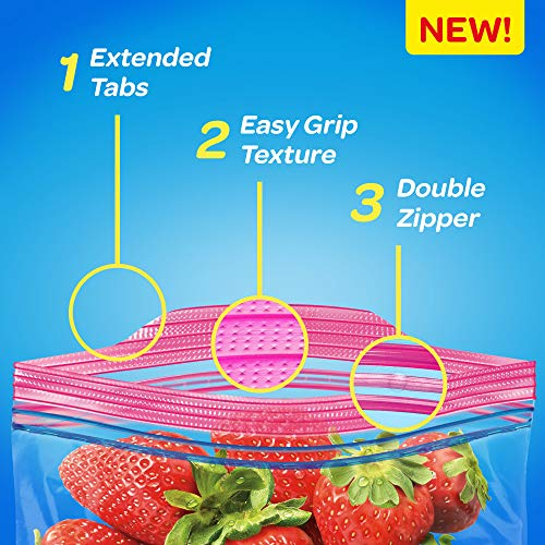 Ziploc Storage Bags with New Grip 'n Seal Technology, For Food, Sandwich, Organization and More, Quart, 80 Count