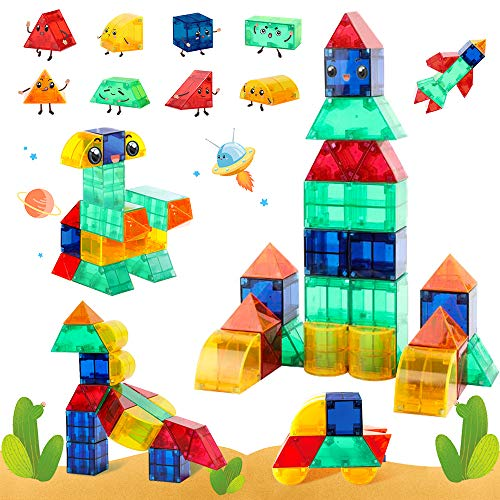 VATOS Magnetic Building Toys STEM Magnet Tiles Toys for Kids 3+, Creativity & Educational 3D Building Blocks Set of 44…