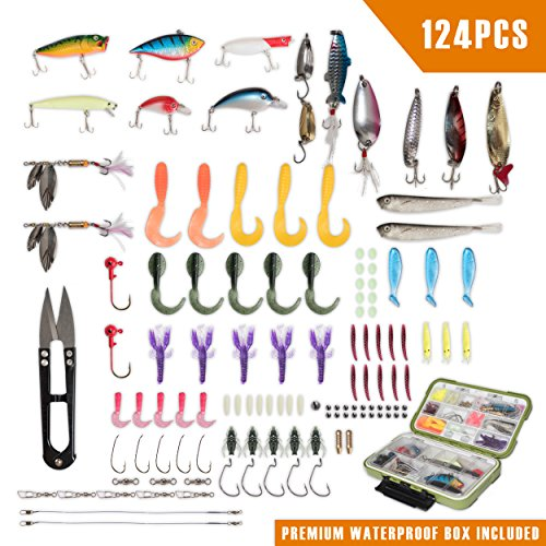 Pro Bait Tackle (RiverPro Fishing Lure set Baits Tackle including Crankbaits, Spinnerbaits, Plastic worms, Jigs, Topwater Lures ,Waterproof Tackle Box and More Fishing Gear Lures Kit Set 124Pcs Fishing Lure Tackle Box)