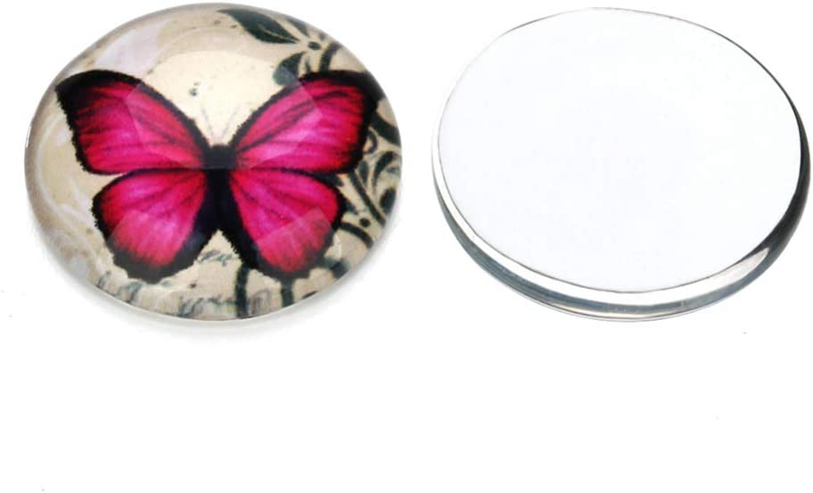 HEALLILY 20pcs Glass Dome Cabochons Half Round Flat Backs Butterfly Printed Glass Cabochons For DIY Jewelry Making Mixed Color 10MM