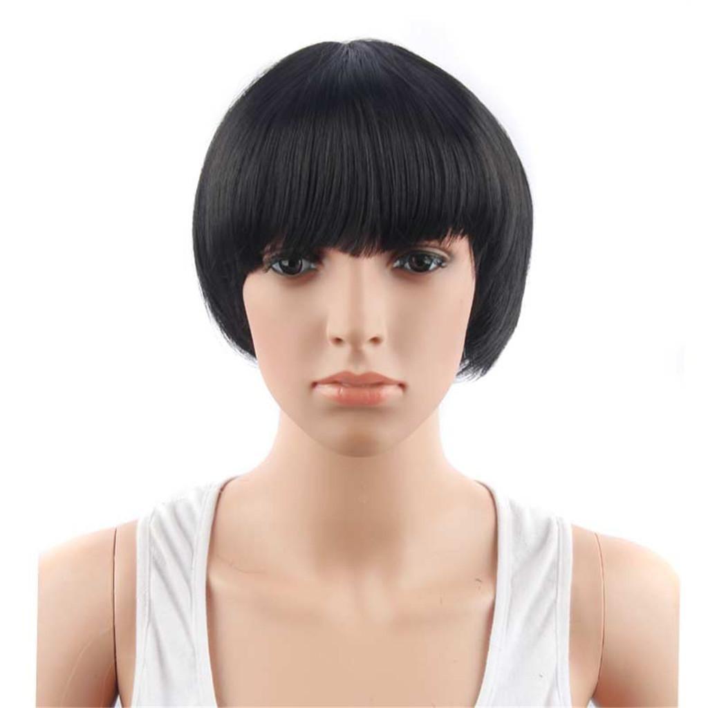 AN-LKYIQI Parrucche Europa e gli Stati Uniti di moda nero Bobo testa signora corta parrucca diritta nera dei capelli