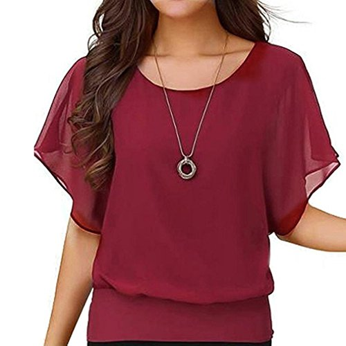 CUCUHAM Women's Loose Casual Short Sleeve Batwing Sleeve Chiffon Top T-Shirt Blouse (XXL, Wine)