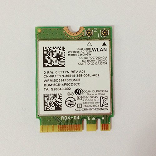 PJCARD Dual Band Wireless-AC 7260 NGFF M2 Use For Intel AC 7260NGW 802.11ac 2x2 Wi-Fi + Bluetooth 4.0 by PJCARD
