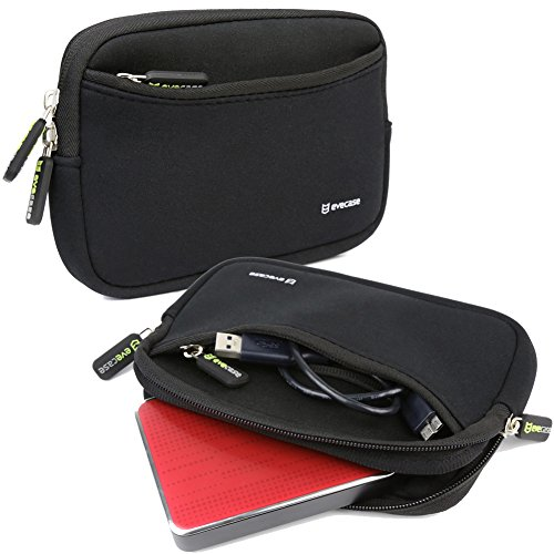 "External Hard Drive Sleeve, Evecase Universal Portable Neoprene Carrying Sleeve Case with Front Zipper Pocket for 2.5"" External Hard Drives, GPS and External Batteries - Black"