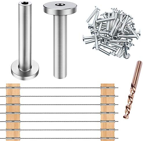 [Upgraded Extended Version] CKE 40 Pack T316 Stainless Steel Protector Sleeves for 1/8″ Wire Rope Cable Railing, DIY Balustrade T316 Marine Grade, Come with A Free Drill Bit