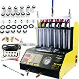 AUTOOL CT200 Petrol 6 Cylinder Car Motorcycle Fuel Injector Ultrasonic Cleaner & Tester Fuel Injection Leakage/Blocking Testing Machine Tool Kit 110V/220V (CT200+Throttle Cleaning Kit)