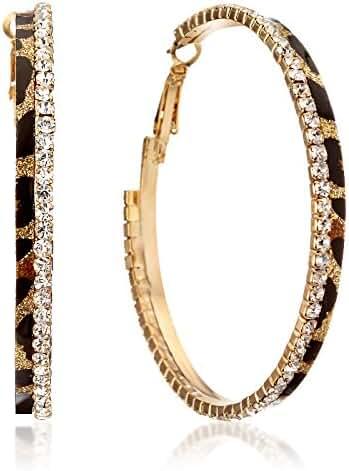 Gemini Women Fashion Leopard Print Crystal Big Round Hoop Earrings Gm148