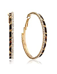 "Gemini Women Fashion Leopard Print Crystal Big Round Hoop Earrings Gm148 , Size 2.5"" inches , Color: Gold"