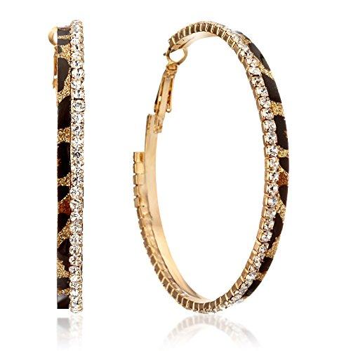 Gemini Women Fashion Leopard Print Crystal Big Round Hoop Earrings Gm148, Size 2.5